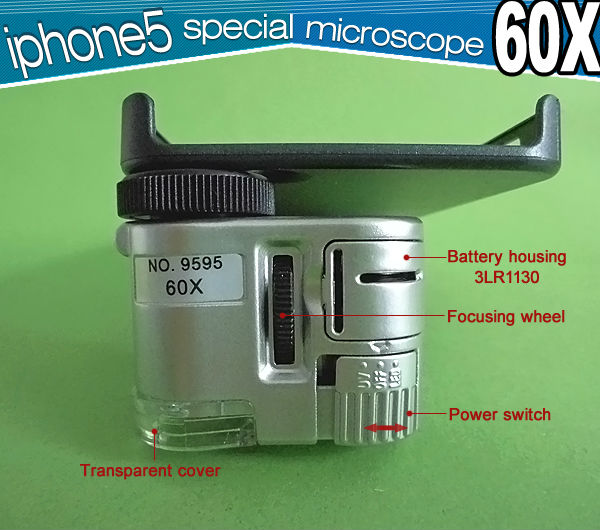 iPhone 5 Use Pocket Microscope with LED and UV Light