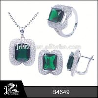 Popular sapphire jewelry artificial zinc alloy jewelry set 925 sterling silver price per gram