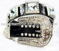 decorative womens crystal pu leather Belt