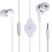 Whole Sale 3.5mm Retractable Earphone with mic headset with winder
