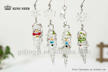 Crystal acrylic Ice shape christmas hanging ornament with snowman ornament