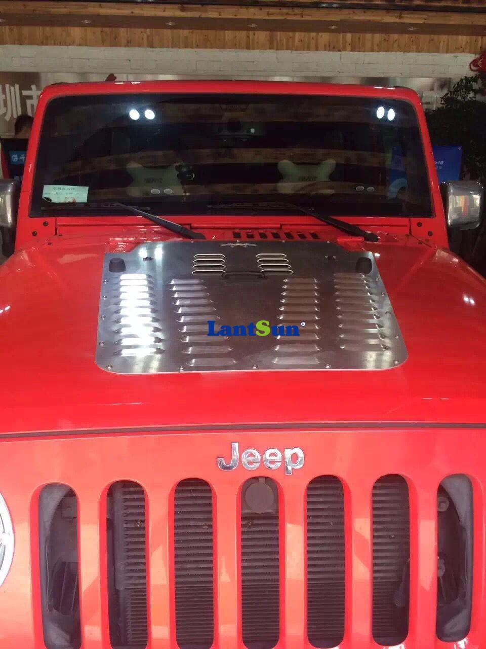 Powder-coated silver & black steel Hood Louver for Jeep Wrangler