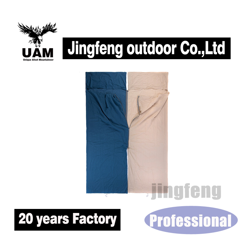 Outdoor wholesale cotton liner spring camping sleeping bag hotel across the dirty health sleeping bag