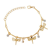Drop Shipping Exquisite Brief Chain Bracelet Top Qulaity Gold Plated Dragonfly Charms Bracelet Lobster Clasp Bracelet For Women