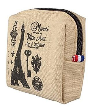 Women Canvas Retro Small Mini Square Eiffel Wallet Coin Purses Clutch Money Gift Pouch Bags