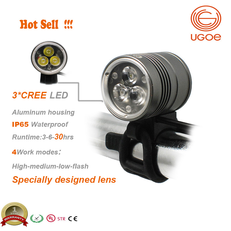 UGOE Led Bicycle light 1500 Lumen mountain bike light rechargeable