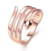 Alibaba Hot Sell Latest Fashion Good Quality 18K Rose Gold Plated Smooth Polished Punk Style Snake Design Animal Ring