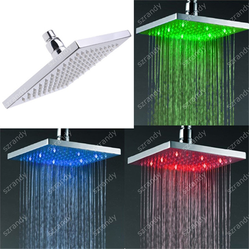 Light color rgb bathroom shower head in 3 colors temperature detectable type