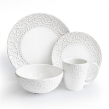 Wholesale cheap ceramic embossed dinner set, customized porcelain embossed dinnerware set for restaurant