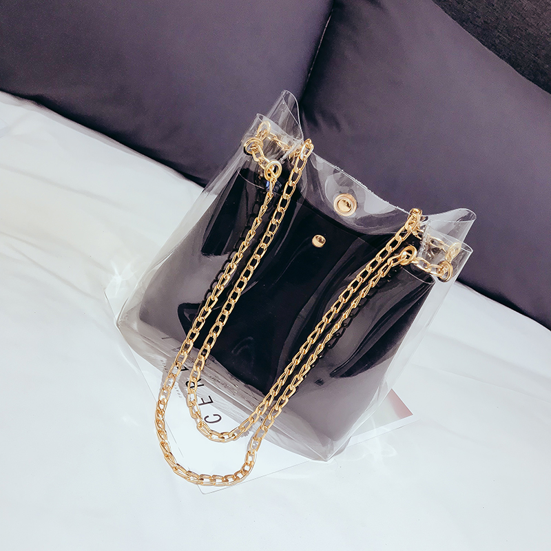 Double Gold Chain Strap Square Clear Plastic <strong>Tote</strong> Bag Candy Color Shoulder Handbags