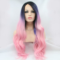 Fashion silk straight ombre hair wigs pink/blue/black synthetic lace front wig natural pink front lace wig heat resistant hair