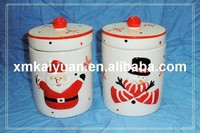 Christmas ceramic container with handle