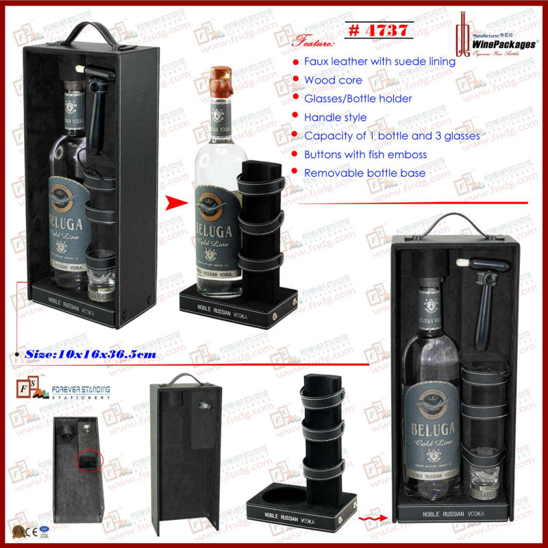 vodka set wine bottle and glasses box packaging