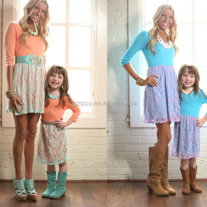 Fashion new lace detail mommy and me matching dresses / mommy and me maxi dress