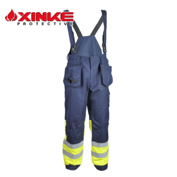 Xinke security workwear men's fireproof bib pants with pockets on the sides factory