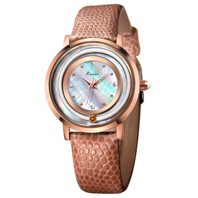 Colorful Shell Face Stainless Steel Back KIMIO Brand Japan Movt Quartz Women Lady Wrist Watch Water Resistant
