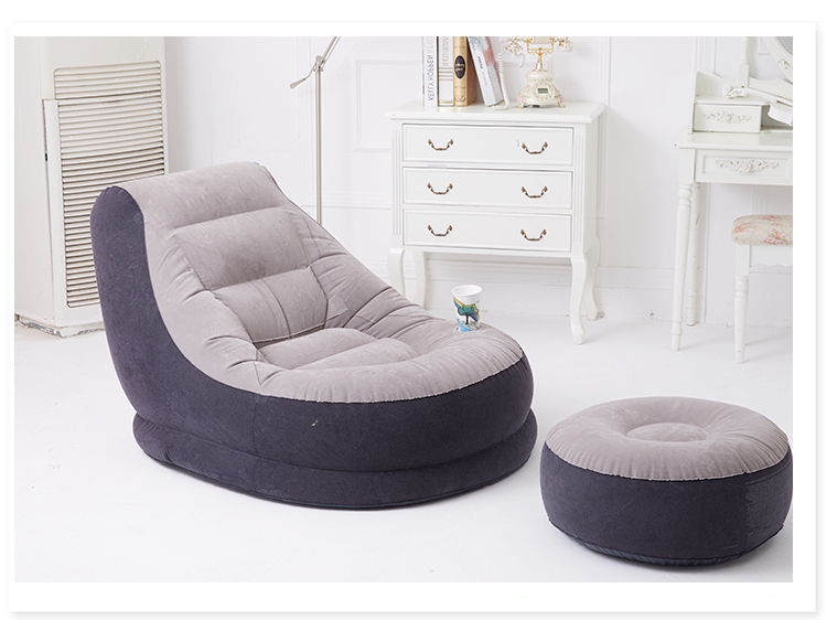 Inflatable sottextile Sectional Sofa With Stool American Solid PVC Home Furniture Beanbag Single For Living Room And Study Room
