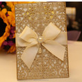 Damask Gold Glitter Laser Cut Wedding Invitations