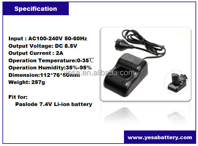 7.4V Li-ion battery charger for Paslode 902672 902600 902654 B20543A power tool battery charger