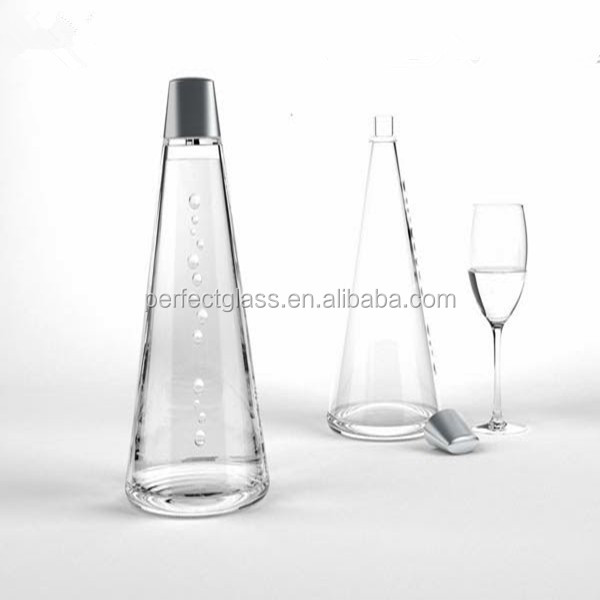 triangle glass water bottle