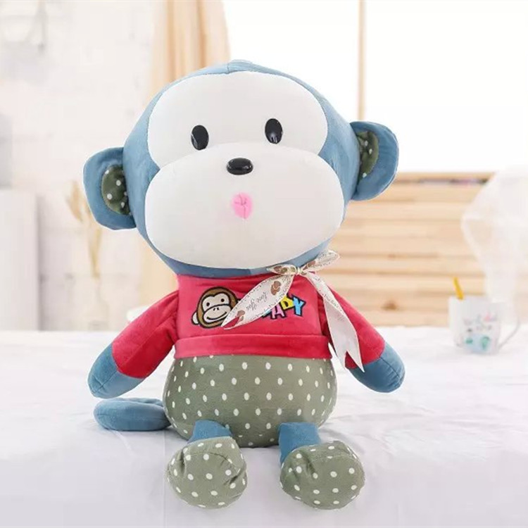 large cute monkey with clothing cheap lovely stuffed <strong>animals</strong> for kids