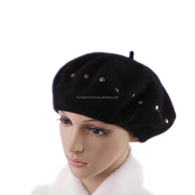 New Fashion Solid Color Warm Wool Winter Women Girl Beret French Artist Beanie Hat Ski Cap For Female