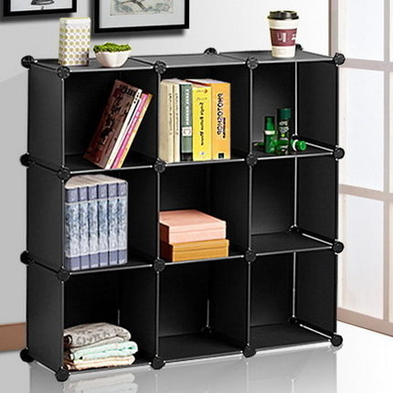 Portable Cubic Study Room Modern Book Shelves Made of PP Panel and Metal Wire