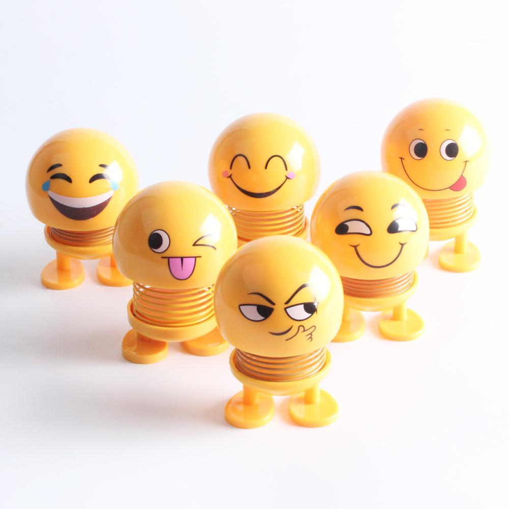2019 Emoji toy Smile Face Spring Shaking Head Bouncing <strong>Doll</strong> Toys car decoration <strong>dolls</strong>