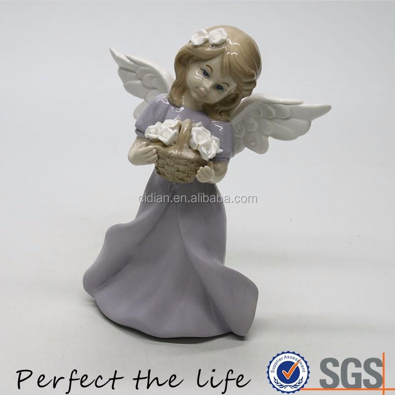 OEM design little wings angel statue with holding a flower basket