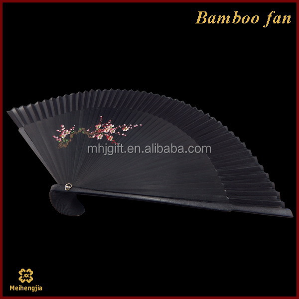 New products quality fold up cloth fan with yellow ribs