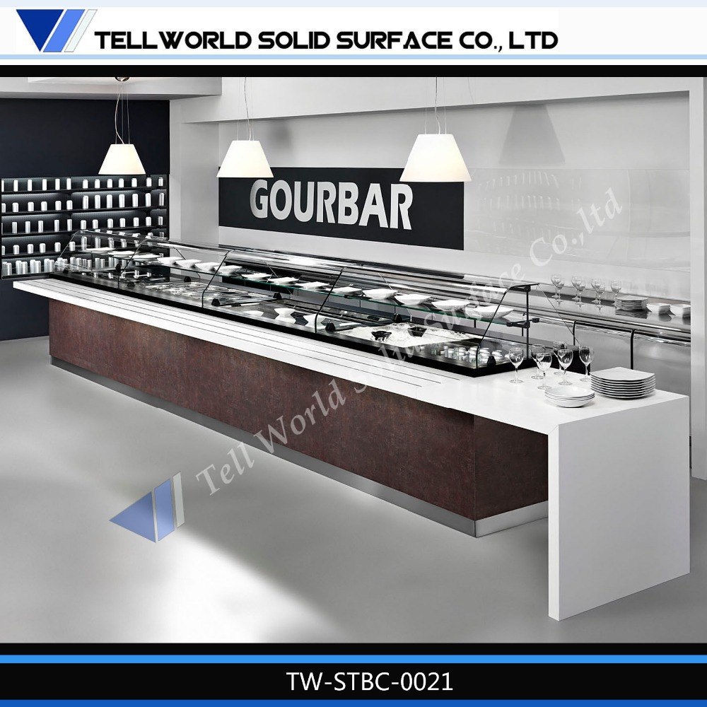 Tell Word Artificial Marble Restaurant Buffet Counter Design White Stone Restaurant Buffet Counter