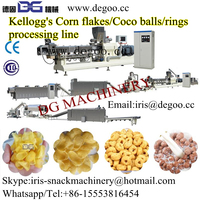Twin screw extruder with pre-conditioner for poducing crispy corn flakes nreakfast cereal food