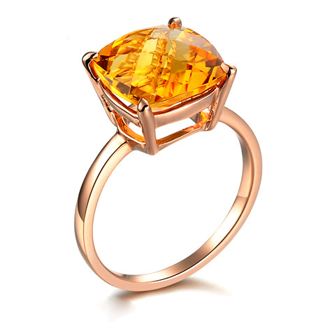 30% <strong>silver</strong> anti allergy 18K rose gold plated brass copper checkerboard cut 10*10 mm Citrine Rings with 925 stamped