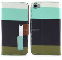 Hot selling Stylish Flip Cover Rainbow Contrast Color Leather Case for apple iphone 6 leather cases wholesale alibaba