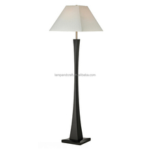 country style contemporary black standing floor lamp with white empire lamp shade for bedside lighting
