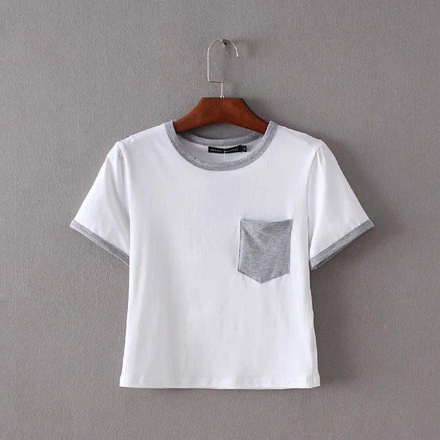 Summer fashion 100 cotton women white t shirt with camo pocket custom crop top