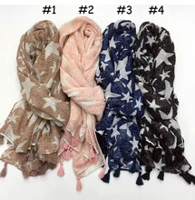 Vogue new designer USA style ladys wear accessories hijab beach shawls wrap print star tassel rayon scarf