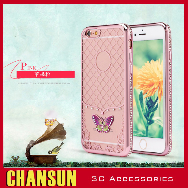 Diamond Bling Stone butterfly Metallic Bumper Tpu Cell Phone Case For Iphone 6