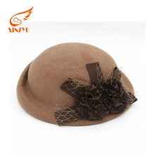 OEM Fashionable Ladies Formal Hat Ffedora Decorate Wool Felt Hat