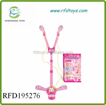 Fashion double microphone with stand twins microphone toy for girl