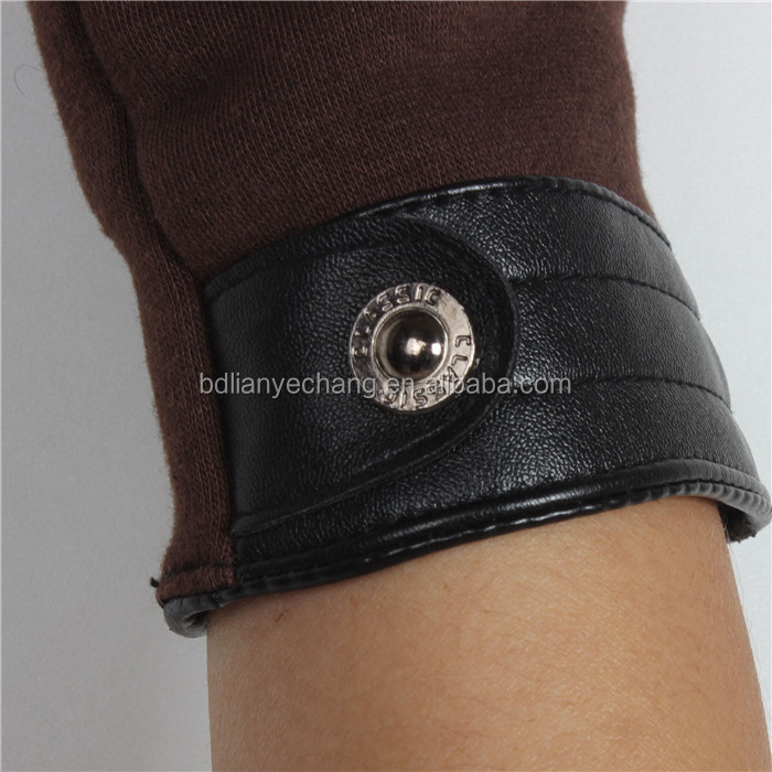 Wholesale leather tight cuff winter smart phone touch Winter Gloves Men