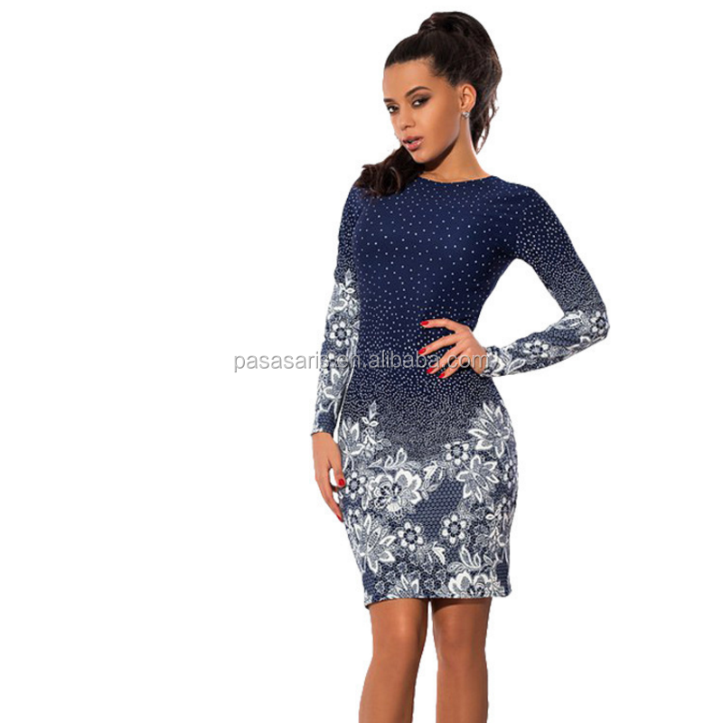 AL2720W Long sleeve polka dot flower print party night club bodycon pencil dress women clothing dress