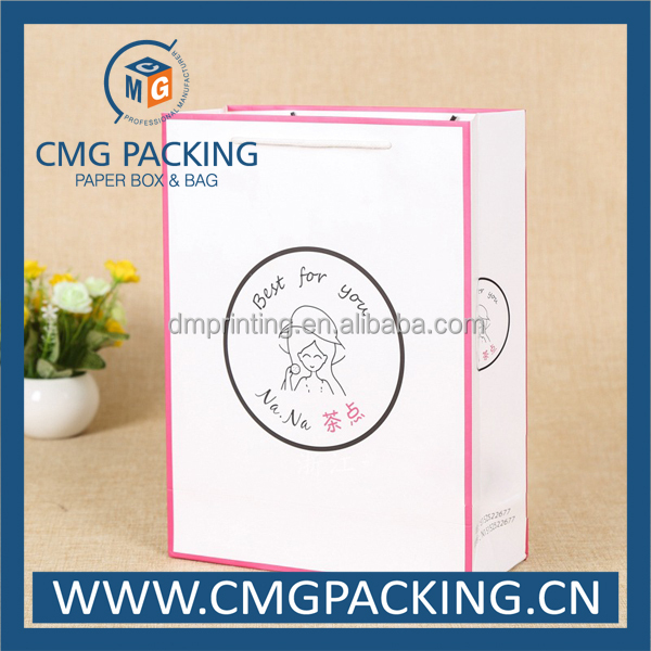 pink border 250g paper shopping bag with customized printing