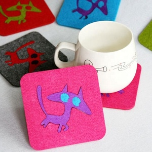 professional factory supply custom laser cut felt cup coaster mat cup coaster silicone coaster
