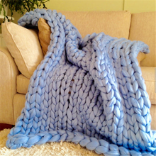 Merion Wool Chunky Thick Extreme Knit Throw Blankets