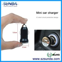 Factory bullet usb car charger with LED charging indicator for mobile and tablet charging