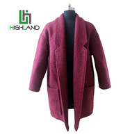 Casual Claret Winter Wool Coats for Ladies Long Lapel Collar Coat With Big Pocket