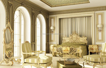 Classic Elegant French Versailles Master Bedroom 3d Rendering Design for Villa BF11-02293b