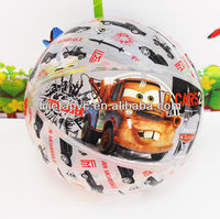 Kids toy cool car pattren printed inflatable beach ball