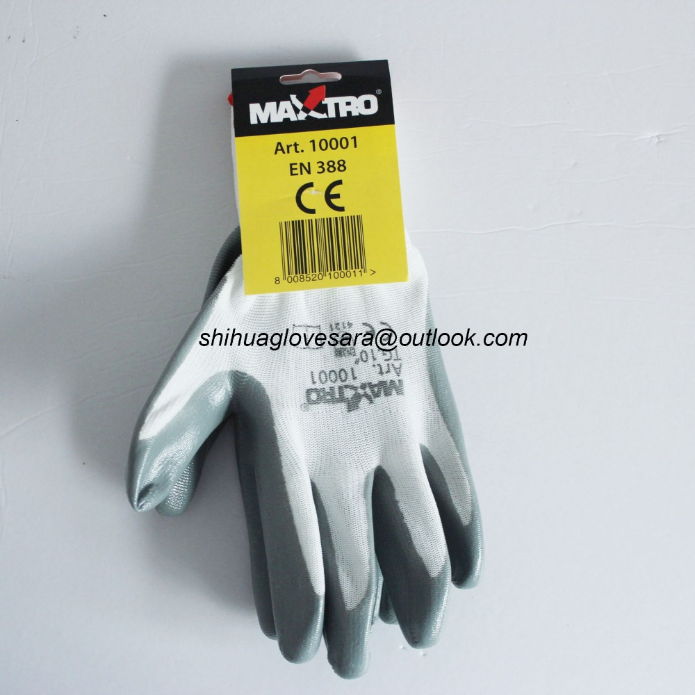 grey nitrile coated white nylon inner CE safety gloves